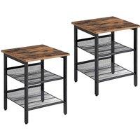 Songmics - VASAGLE Side Table Set, Nightstand, Industrial Set of 2 Bedside Tables, with Adjustable Mesh Shelves, Living Room, Bedroom, Hallway,