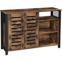 VASAGLE Storage Cabinet, Sideboard with 2 Doors, Adjustable Shelves, for Dining Room, Living Room, Kitchen, 114 x 35 x 75 cm, Industrial Style,