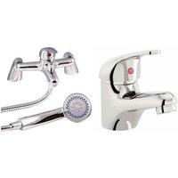 VeeBath Egham Bath Basin Taps Set Designer Chrome Sink Tap and Bath Shower Mixer