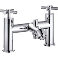 VeeBath Elmbridge Crosshead Bath Shower Mixer Filler Tap, Shower Head - Chrome