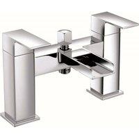 VeeBath Kinross Square Waterfall Bath Shower Mixer Filler Tap, Shower - Chrome