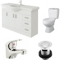 Linx 1200mm Vanity Unit Base Close Coupled Toilet and Basin Mixer Tap - Veebath