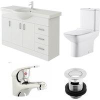 Linx 1200mm Vanity Unit Geneve Close Coupled Toilet and Basin Mixer Tap - Veebath