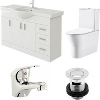 Linx 1200mm Vanity Unit Milan Close Coupled Toilet and Basin Mixer Tap - Veebath