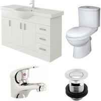 Linx 1200mm Vanity Unit Sleek Close Coupled Toilet and Basin Mixer Tap - Veebath