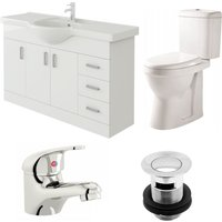 Linx 1200mm Vanity Unit Verona Close Coupled Toilet and Basin Mixer Tap - Veebath