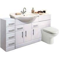 VeeBath Linx 1550mm Vanity Bathroom Furniture Set and WC Toilet Unit Pan Cistern
