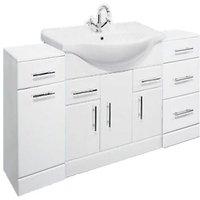 Linx 1550mm Vanity Unit Bathroom Furniture Combo Set and Storage Cabinet - Veebath