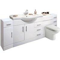 VeeBath Linx 2200mm Vanity Bathroom Furniture Set and WC Toilet Unit Pan Cistern