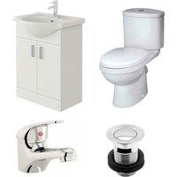 Linx 550mm Vanity Unit Sleek Close Coupled Toilet and Basin Mixer Tap - Veebath