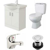 VeeBath Linx 650mm Vanity Unit Base Close Coupled Toilet and Basin Mixer Tap