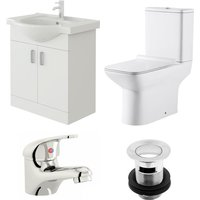 VeeBath Linx 650mm Vanity Unit Geneve Close Coupled Toilet and Basin Mixer Tap