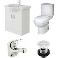 VeeBath Linx 650mm Vanity Unit Sleek Close Coupled Toilet and Basin Mixer Tap
