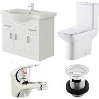 VeeBath Linx 750mm Vanity Unit Geneve Close Coupled Toilet and Basin Mixer Tap