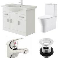 Linx 750mm Vanity Unit Milan Close Coupled Toilet and Basin Mixer Tap - Veebath
