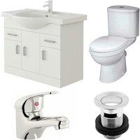 Linx 750mm Vanity Unit Sleek Close Coupled Toilet and Basin Mixer Tap - Veebath