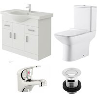 Linx 850mm Vanity Unit Geneve Close Coupled Toilet and Basin Mixer Tap - Veebath