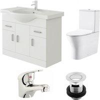VeeBath Linx 850mm Vanity Unit Milan Close Coupled Toilet and Basin Mixer Tap