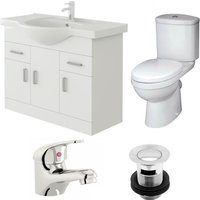 VeeBath Linx 850mm Vanity Unit Sleek Close Coupled Toilet and Basin Mixer Tap