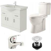 VeeBath Linx 850mm Vanity Unit Verona Close Coupled Toilet and Basin Mixer Tap