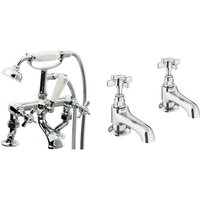 VeeBath Richmond Bath Basin Taps Set Designer Chrome Sink Tap Bath Shower Mixer