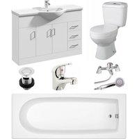 VeeBath Rosina 1600mm Bath Vanity Basin Unit Toilet and Mixer Taps Bathroom Suite