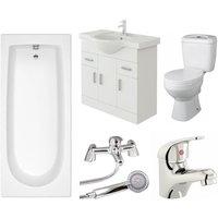 Rosina 1700mm Bath Vanity Basin Unit Toilet and Mixer Taps Bathroom Suite - Veebath