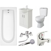 VeeBath Rosina 1800mm Bath Vanity Basin Unit Toilet and Mixer Taps Bathroom Suite