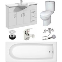 Rosina High Gloss White Curve Single Ended Bath Bathroom Suite - 1500mm - Veebath