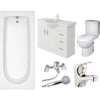 VeeBath Rosina High Gloss White Curve Single Ended Bath Bathroom Suite - 1800mm