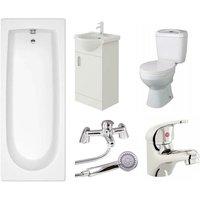 VeeBath Rosina Single Ended Bath Toilet Vanity and Taps Bathroom Suite - 1800mm