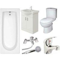 Rosina Vanity Unit, Toilet and Single Ended Bath Bathroom Suite - 1500mm - Veebath