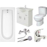 Rosina Vanity Unit, Toilet and Single Ended Bath Bathroom Suite - 1600mm - Veebath