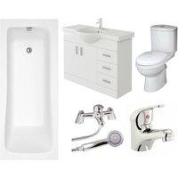 Sophia High Gloss White Curve Single Ended Bath Bathroom Suite - 1800mm - Veebath