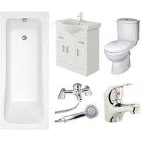 VeeBath Sophia Vanity Unit, Toilet and Single Ended Bath Bathroom Suite - 1700mm