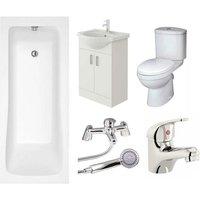 VeeBath Sophia Vanity Unit, Toilet and Single Ended Bath Bathroom Suite - 1800mm