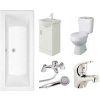 Umbro 1700mm Bath Vanity Basin Unit Toilet and Mixer Taps Bathroom Suite - Veebath