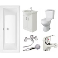 VeeBath Umbro 1800mm Bath Vanity Basin Unit Toilet and Mixer Taps Bathroom Suite