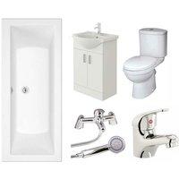 Umbro Vanity Unit, Toilet and Single Ended Bath Bathroom Suite - 1700mm - Veebath