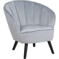Modern Glam Velvet Armchair Shell Back Tufted Light Grey Dala
