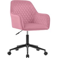 Velvet Desk Chair Office Chair with Arms Luxurious Cushion for Home Office Swivel Chair (Pink)