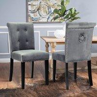 Velvet Dining Chair Button Tufted Ring Knocker High Back Nailhead Chair Light Grey