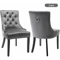 Velvet Dining Chairs Set of 2 with Button, Chrome Knocker, and Nailhead Trim Bedroom Chair Grey