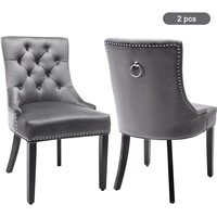 Velvet Dining Chairs Set of 2 with Button, Chrome Knocker and Nailhead Trim Bedroom Chair Kitchen Chair Living Room Lounge Leisure Chair (grey, 2pcs)