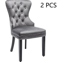 Velvet Dining Chairs Set of 2 with OAK Legs, Button, Chrome Knocker and Nailhead Trim Bedroom Chair Kitchen Chair Living Room Lounge Leisure Chair