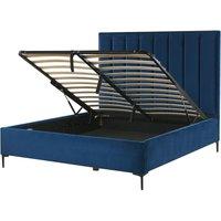 Velvet EU Double Size Bed Frame 4ft6 Navy Blue Ottoman Storage Sezanne