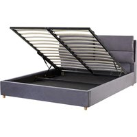 Beliani - Velvet EU Double Size Bed Frame 4ft6 Grey Slatted Base with Storage Batilly