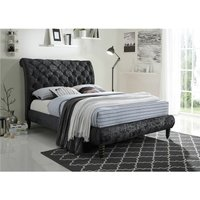 Velvet Fabric Black Bed Frame - Double 4ft 6