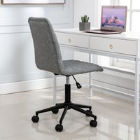 Velvet Office Chair Ergonomic Computer Task Desk Chair Without Arms Fabric Swivel Chair Home Office Bedroom ( grey )