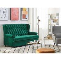 Velvet Sofa Bed Green MALVIK - BELIANI